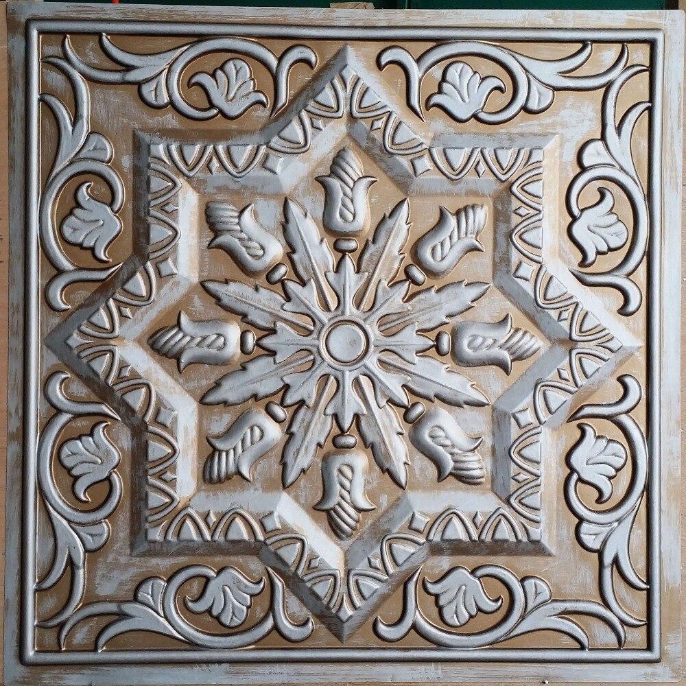 PL21 Faux antique tin copper metallized ceiling tiles Interior
