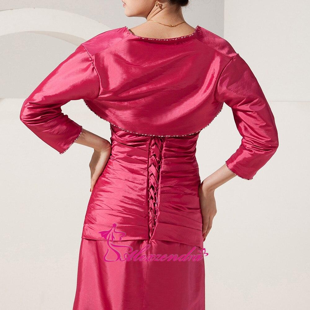 Alexzendra chérie perlée longue mère de mariée robe avec veste droite longues robes de soirée grande taille - 6