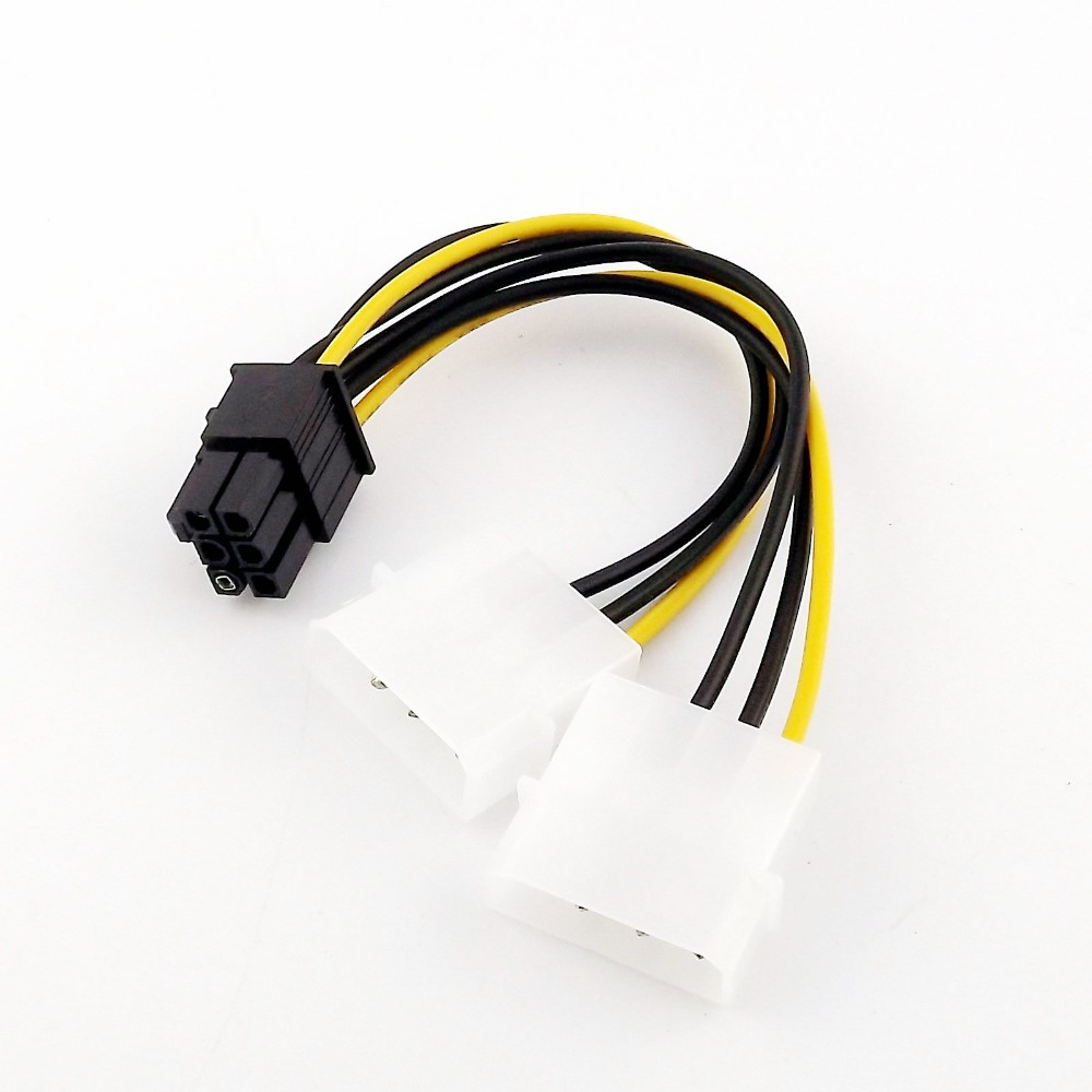 1x Dual <font><b>4</b></font> <font><b>Pin</b></font> <font><b>Molex</b></font> zu <font><b>6</b></font> <font><b>Pin</b></font> <font><b>PCI</b></font>-E Power Supply Converter Adapter Anschluss Y Splitter Kabel 15 cm image