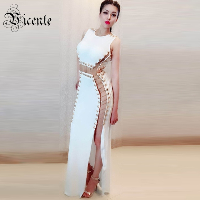 73ab4140931c8 US $88.98 |Vicente HOT Chic Golden Button Chain Design Long Dress Sexy  Hollow Out Sleeveless Wholesale Celebrity Party Club Dress-in Dresses from  ...