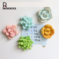 Roogo Fridge Magnet Succulent Plants Mini 3D Refrigerator Sticker Magnets For Home Kitchen Decoration Stickers On The Fridge