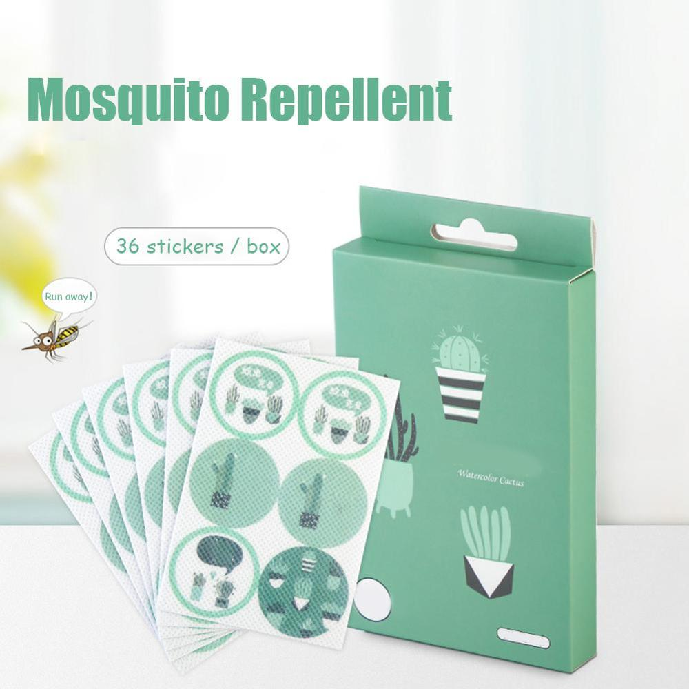 36 Stickers Mosquito Repellent Stickers DIY Patches Cartoon Anti-mosquito Bite Cactus Patch Pest Reject Moustique Sinek Kovucu