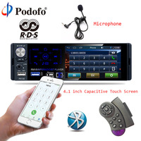 Podofo 4.1 Touch Screen Car Radio 1 Din Bluetooth Autoradio RDS USB AUX MP5 Video Player MP3 Auto Audio Stereo Rearview Camera