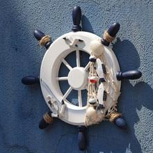 23 СМ Деревянная Лодка Руль рулевой Средиземноморском Стиле Оболочки Декоративные повесить украшают дерево ручной работы Морских Декора Ремесла