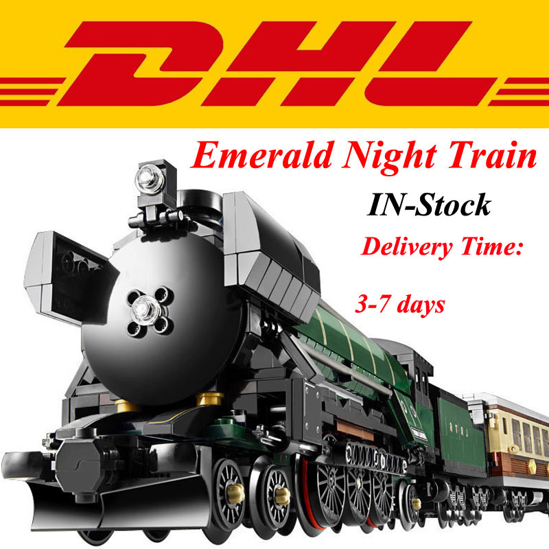 In Stock Modular font b LEPIN b font 21005 1085Pcs Technic Series Emerald Night Train Model