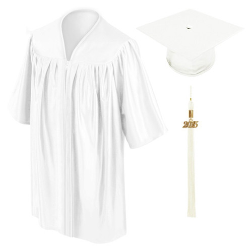 white perschool graduation gown cap and tassel-Be.Fore