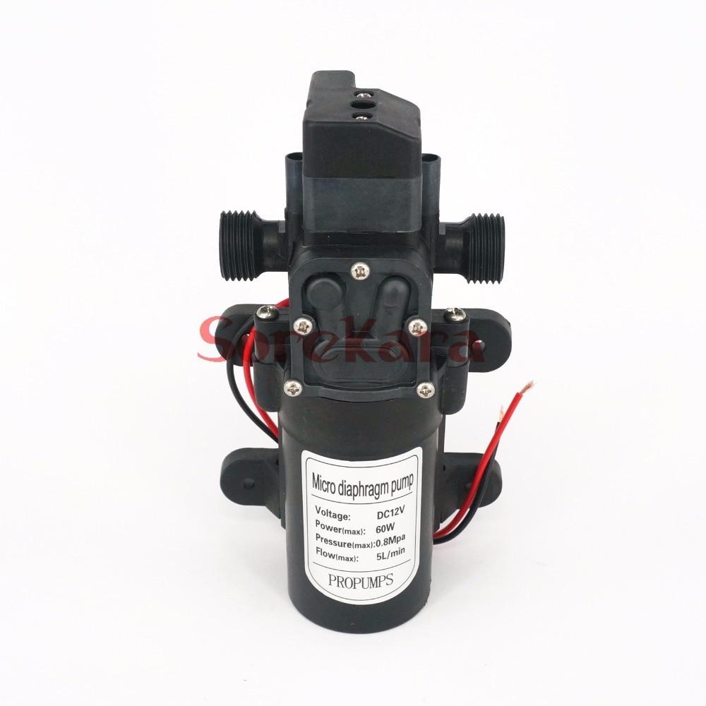 1/2 BSP Male DC 12V/24 60W Micro Diaphragm Water Pump Self-priming Booster Pump Automatic Switch 300L/H Y4
