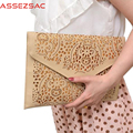 Assez sac ladies day clutch women handbags pu leather bag envelop hollow out clutch phone keepers shoulder bags bolsas DH0219