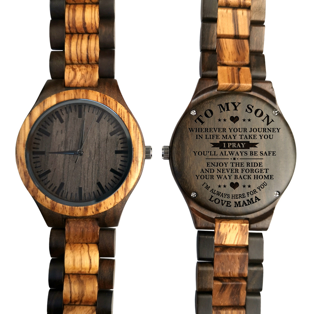 I'M ALWAYS HERE FOR YOU FROM MAMA TO SON ENGRAVED WOODEN WATCH