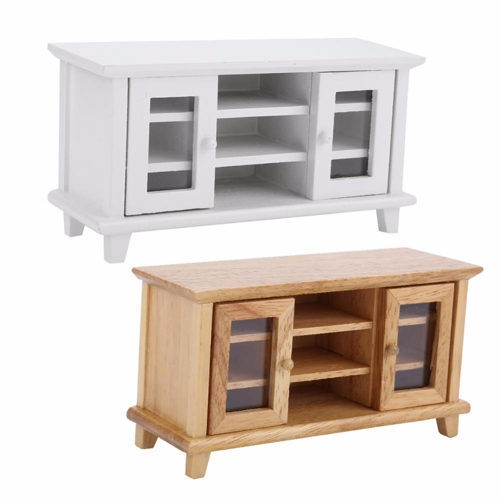Wooden TV Cabinet TV Stand In Living Room Furniture Bench Table White And Wood Colors Available <font><b>1</b></font>:<font><b>12</b></font> Dollhouse Miniature image