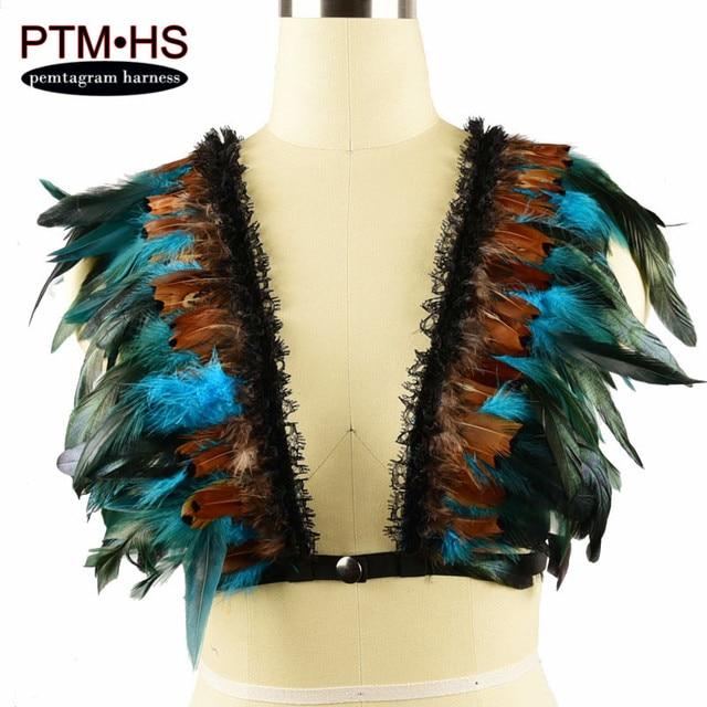 e55653f4da2970 Womens feather bra Iridescent velvet tuxedo Goth Body Harness Caged  Epaulett Bondage Shoulder top gypsy boho