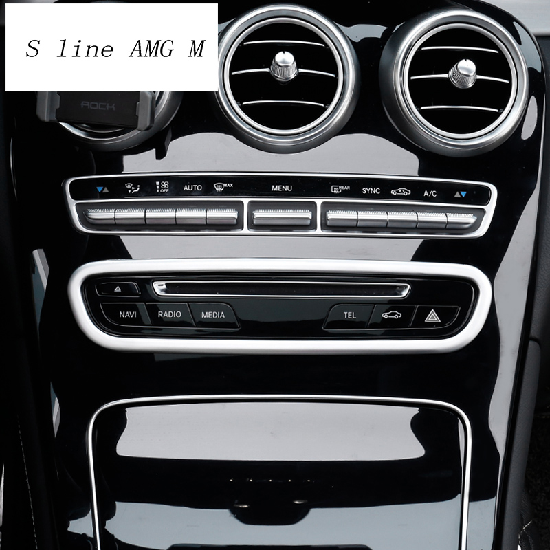 Car Styling Air Conditioning CD Panel Button Decorative Cover Trim Auto Interior Accessories For Mercedes Benz GLC Class X253