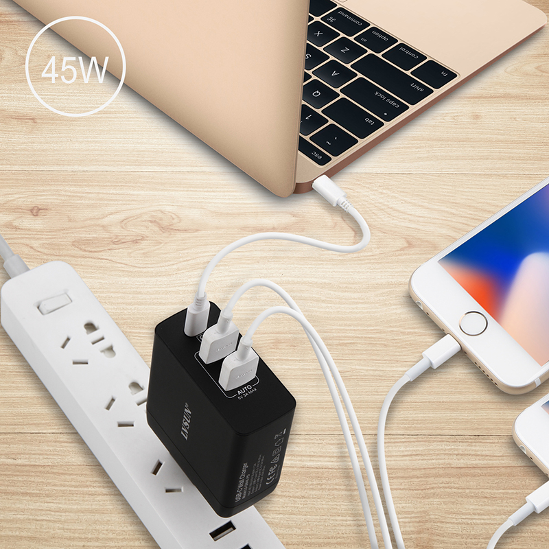LVSUN 45W USB Type C charger Quick Type-c Wall Charger Mobile Phone Laptop PD 2.0 Charger for Nintendo Switch Macbook Nexus HP helper 15w 45w 60w usb type c pd wall charger fast charging power adapter for huawei matebook lumia 950 950xl nexus 5x 6p
