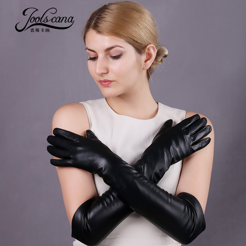 Joolscana long gloves genuine leather gloves touch screen elbow spring and winter gloves new brand 2018 new fashion 50cm