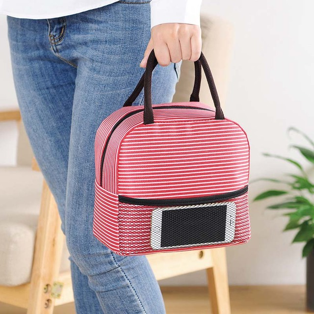 Stripe Infant Bolsa Termica Insulation Thermos Lunch Bags Mamadeira Waterproof Baby Bottle Holder Food Storage Tote Bag Hobos