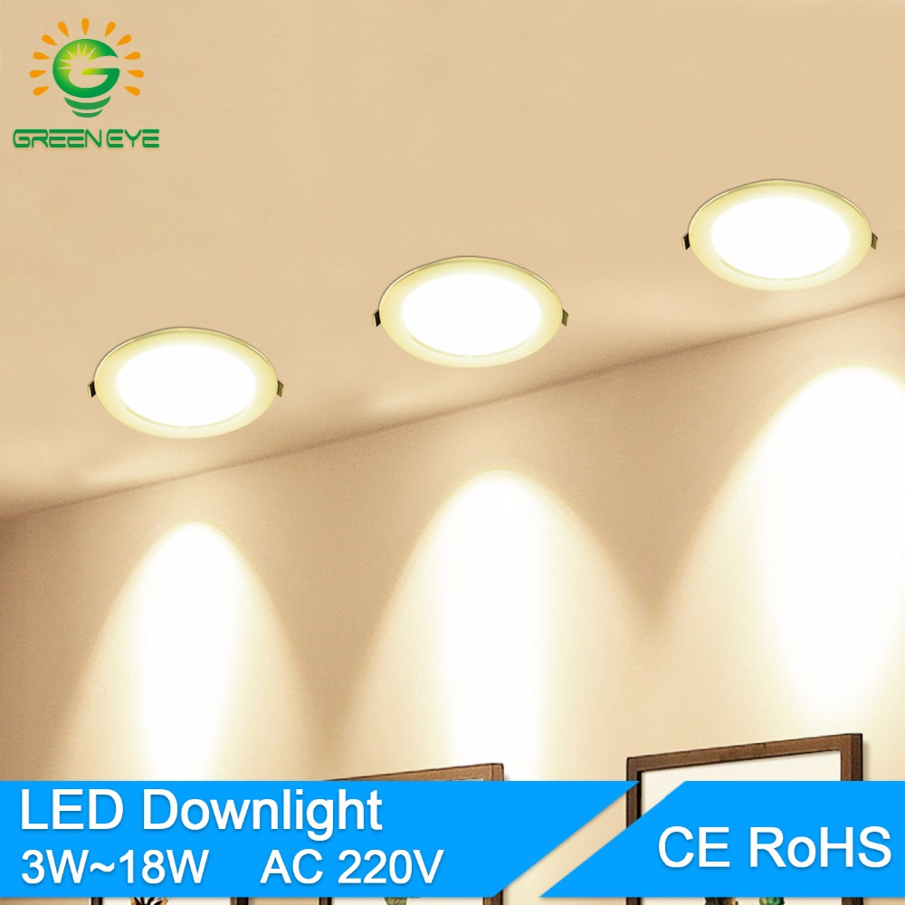 GreenEye LED Downlight 3w 5w 7w 9w 12w 18w AC 220V 240V Alumin Ultrathin downlight سقف داخلی سقف گرد لامپ نورگیر