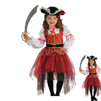 2017 Halloween Costume For Kids Pirate And Hat Dress Girls Cartoon Costumes Autumn Puffy Lovely Dress
