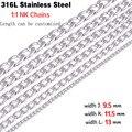 Nuevos hombres 9.5 / 11.5 / 13 mm de ancho punky de plata collares de cadena de acero inoxidable 316L con estilo de la joyería collar pulsera SNK103