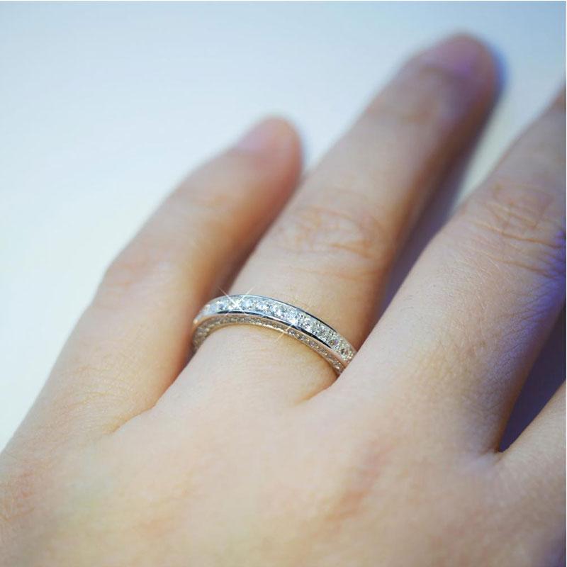 925 Sterling Silver Ring Women Cubic Zirconia Wedding