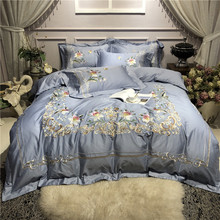 New Luxury 80S Egyptian Cotton Pastoral Flowers Embroidery Palace Bedding Set Duvet Cover Bed sheet Linen Pillowcases 4pcs