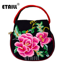 ETAILL Pink Floral Ethnic Embroidered Shoulder Bag Lady Summer Small Zipper Female Canvas Chinese Design Girl Mini Phone