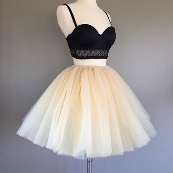 7 warstwowe 50cm Tutu Tulle spódnice kobiet wysoka talia Swing Dolly suknia balowa podkoszulek Mesh lato spódnica trzy czwarte Faldas Saias jupiter