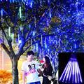 Tubos Chuva de Meteoros Chuva Luzes De Natal Levou Lâmpada 100-240 V Ao Ar Livre Luz Do Feriado de Ano Novo Decoração 8 pçs/set
