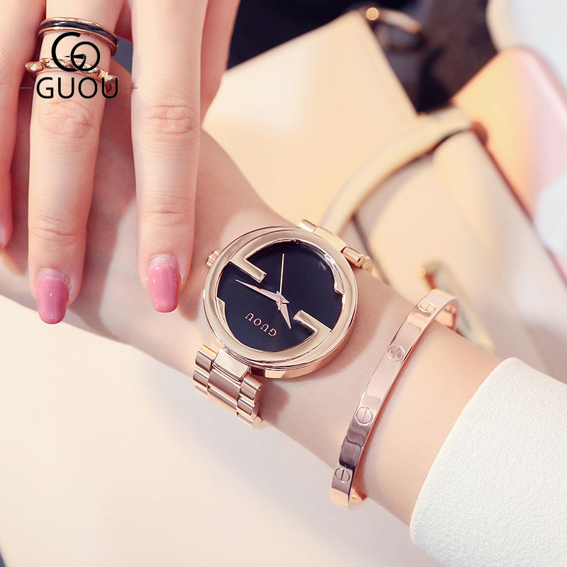 GUOU Brand New Fashion Unique Women Quartz Watch relogio feminino lady Luxury Wristwatch Ladies Dress Hours Clock watches guou 2018 new quartz women watches luxury brand fashion square dial wristwatch ladies genuine leather watch relogio feminino