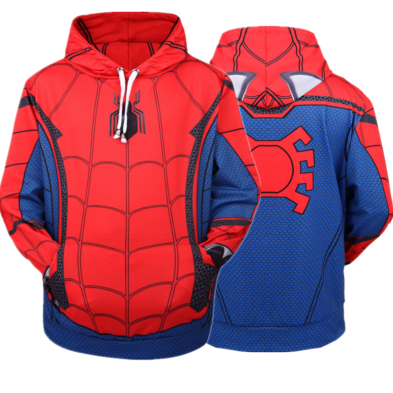 Spider-Man: Homecoming Spiderman Cosplay Costumes 3D Printing Hoodie Sweatshirts Coat