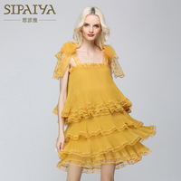 SIPAIYA High Quality Brand New 2017 Summer Runway Dress Womens Party Wear Organza Ruffles Dress Elegant