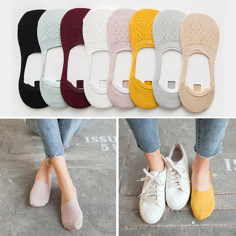 1pair Candy Color Invisible Non-slip Low Cut   Socks   Fashion Women kawaii funny   socks   high quality women fashion 2019 drop 5 pairs