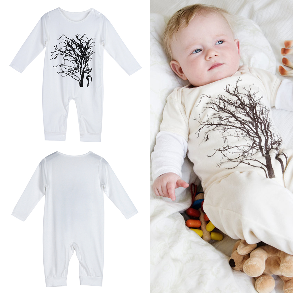 New Arrival Unisex Baby Infant Toddlers Tree Print Long Sleeve O-Neck Rompers Jumpsuit Baby Clothes For Spring Autumn For 0-24M warm thicken baby rompers long sleeve organic cotton autumn