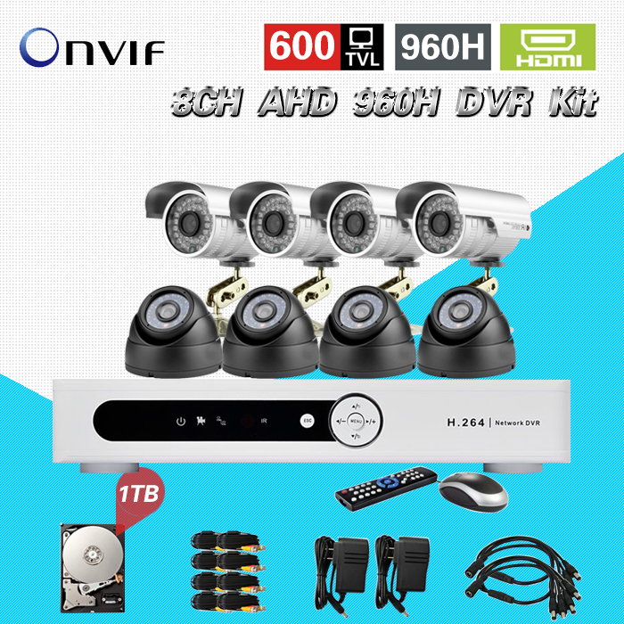 TEATE CCTV system 8ch 960h AHD recording 8pc IR outdoor indoor security camera surveillance HDMI dvr kit hard disk 1tb CK-197