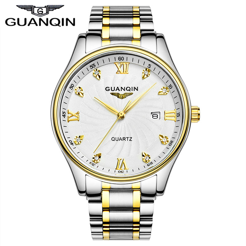 ФОТО GUANQIN GQ80007 Big Dial Men Luxury Famous Brand Watches 30 m Waterproof Luxury Watches Fashion Casual Stainless Steel Men Clock
