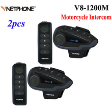 2 Stuks Vnetphone V8 Motorhelm Intercom Nfc Afstandsbediening Bluetooth Interphone Headset 5 Rider 1200M Full Duplex Praten