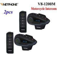 2 stücke Vnetphone V8 Motorrad Helm Intercom NFC Fernbedienung Bluetooth Sprech Headset 5 Reiter 1200M Voll duplex reden