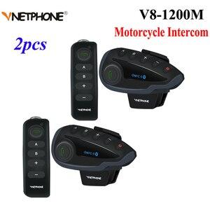 Image 1 - 2pcs Vnetphone V8 오토바이 헬멧 인터폰 NFC 원격 제어 블루투스 인터폰 헤드셋 5 라이더 1200M 전이중 이야기
