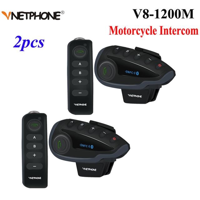2pcs Vnetphone V8 오토바이 헬멧 인터폰 NFC 원격 제어 블루투스 인터폰 헤드셋 5 라이더 1200M 전이중 이야기