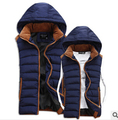 2016 spring autumn new Korean version fashion City Men solid color Thickening feather cotton Hooded couple Vest cheap wholesale