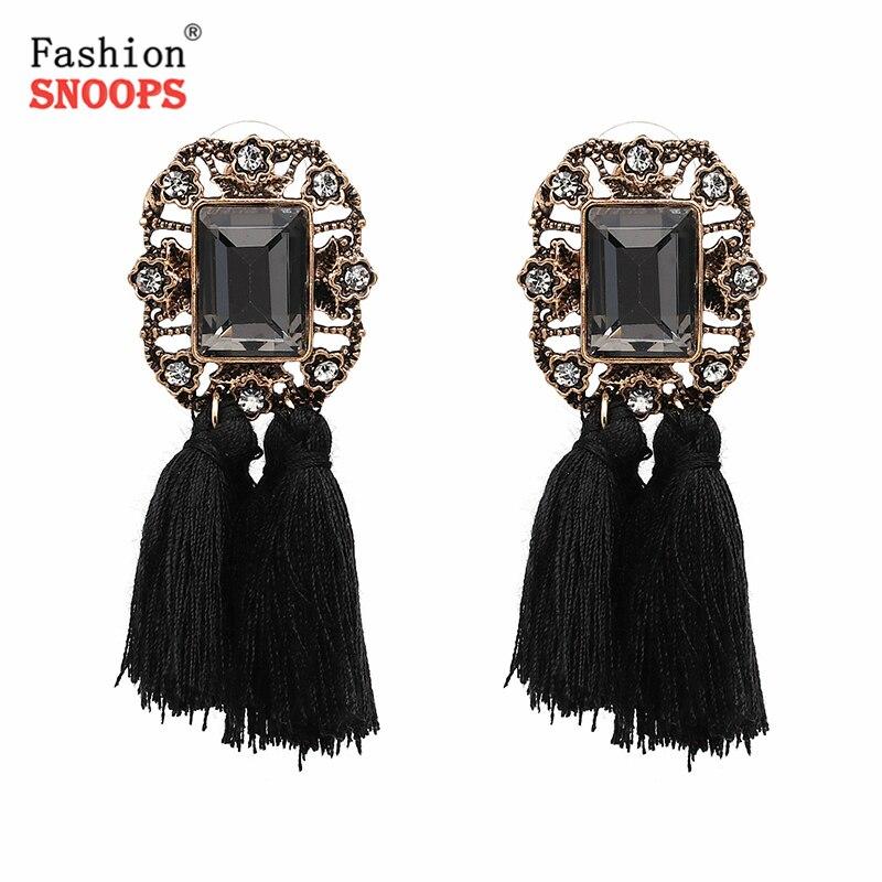 2019 Модні ювелірні вироби Дешеві ціни Жінки Кришталеві Вінтажні Китиці Заява Сережки Брошок для жінок brincos
