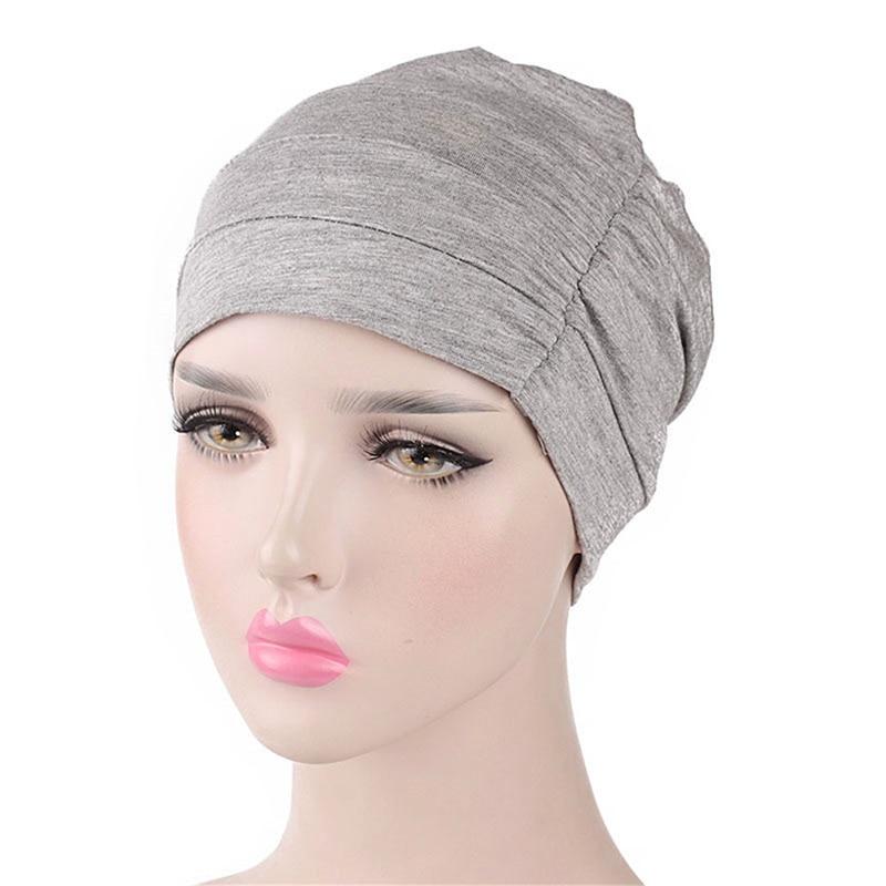 Women Turban Solid Color Beanie Hat Stretchy Head Wrap Sleep Cap Chemo Bandana