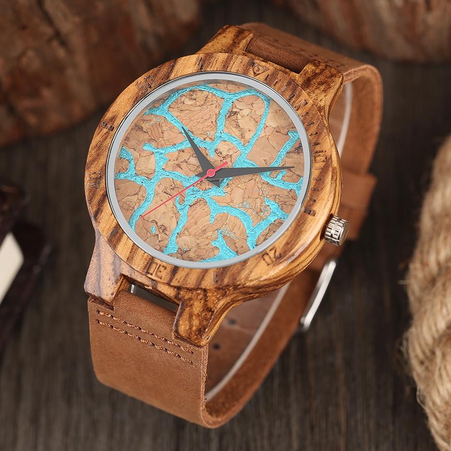 Unique Stripes Lines Dial Wooden Watch Mens Bamboo Creative Quartz Clock Genuine Leather Bangle Reloj de madera 2017 New Fashion  (32)