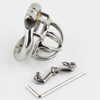 Male Chastity Device Stainless Steel Super Small Size Penis Lock with 4 Size Arc Base Ring with Sharp Anti Thorn Style Cock Cage