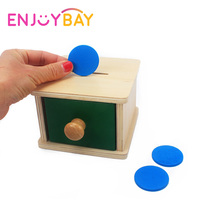 Enjoybay Infant Toddler Montessori Materials Wooden Coin Box Early Educational Math Toys Colorful Preschool Training Kids Toy