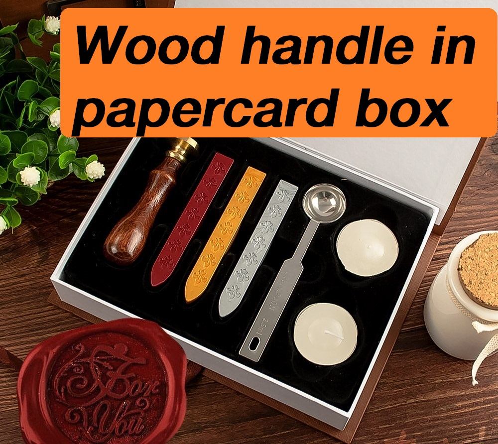 New customize Stamp with gift Box,Retro Style Sealing Wax Stamp set,Deluxe Gift set 26 alphets,Greeting words for choose (1set)