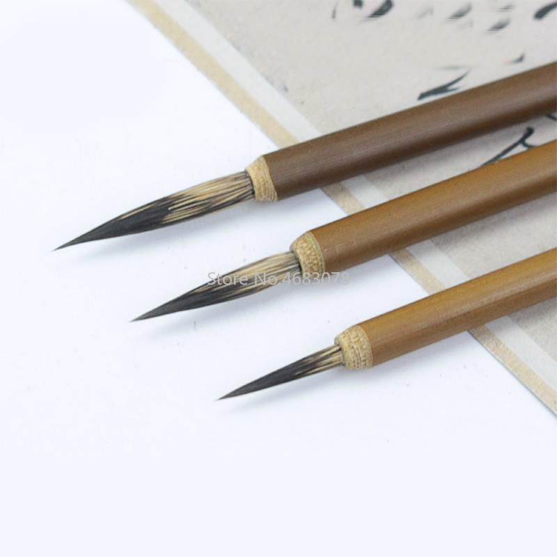3pcs/set Weasel Hair Hook Line Fine Paint Brush Chinese Calligraphy Brush Pen Paint Brush Art Stationary Oil Painting Brush
