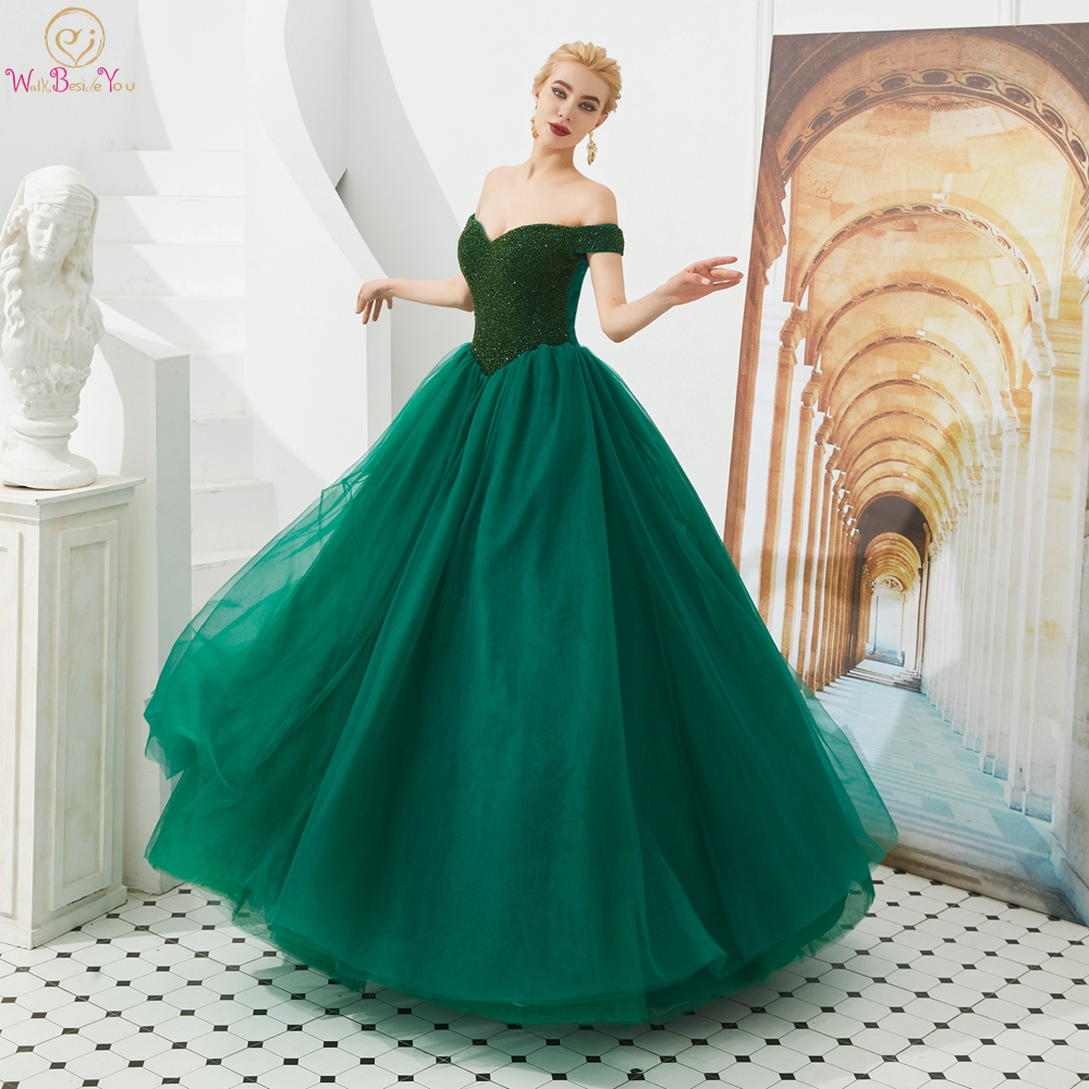 Green   Prom     Dresses   2019 Beading Long Tulle Floor Length Off Shoulder Sweetheart A Line Evening Gown Party Formal Walk Beside You