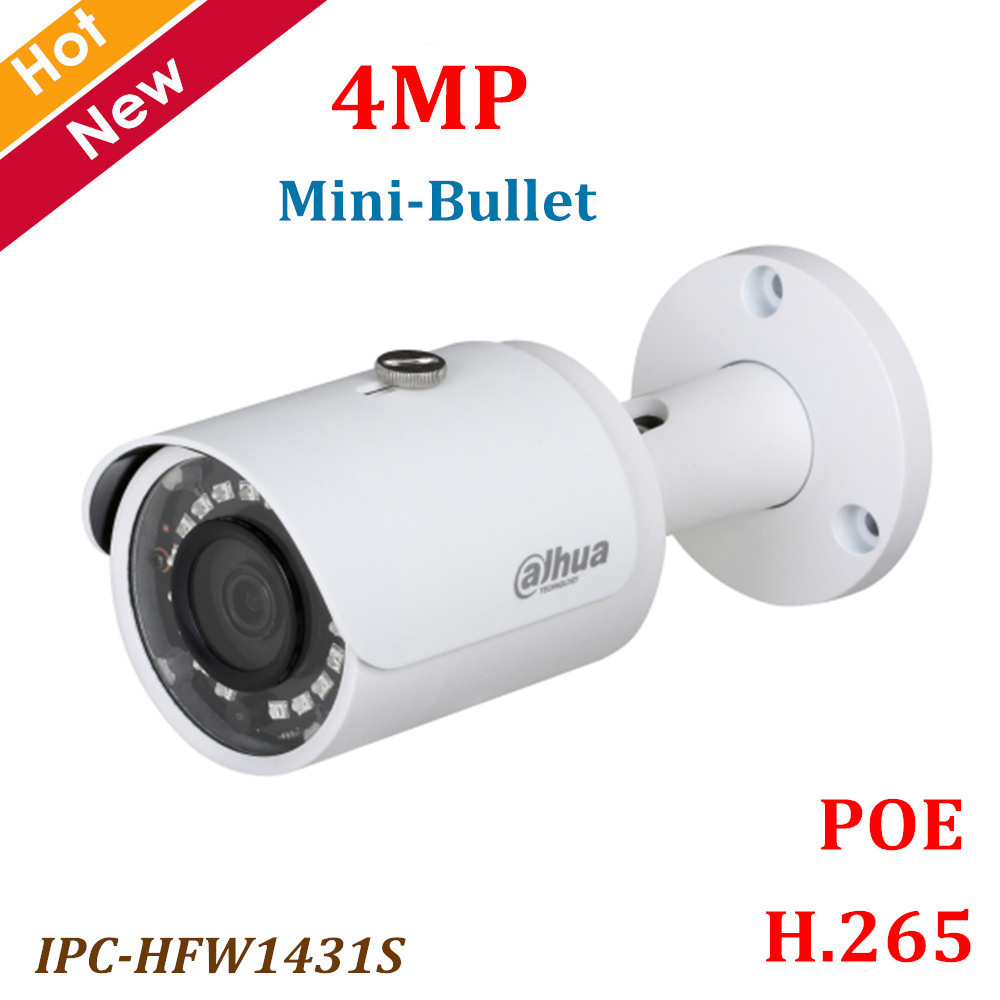 Dahua POE Ip camera IPC-HFW1431S 4MP WDR IR Mini Bullet Camera IR Distance 30m H.265 Waterproof IP67 Security cameraDahua POE Ip camera IPC-HFW1431S 4MP WDR IR Mini Bullet Camera IR Distance 30m H.265 Waterproof IP67 Security camera