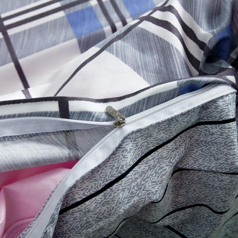 100% baumwolle Blau Grau Plaid Bettwäsche Streifen Bettlaken Sets Jungen/Erwachsene 4/5PC Quilt Abdeckung 400TC voll Königin Größen Deer Kissen Sham - 5