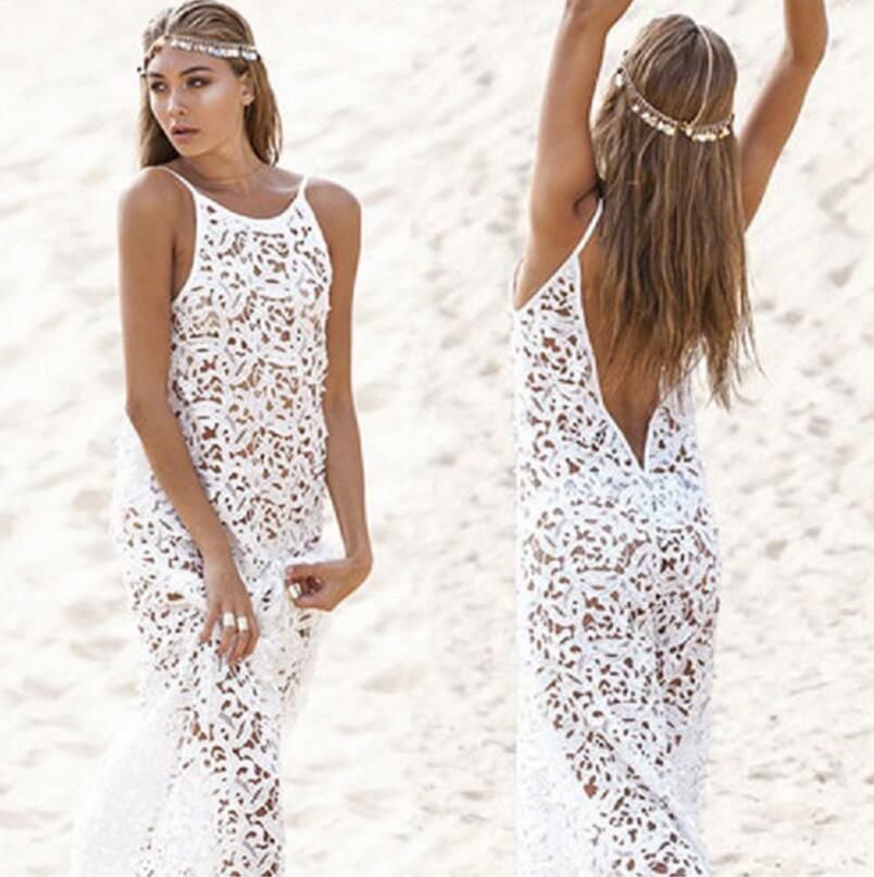 Summer Maxi Womens Dresses 2017 Female Backless Bohemian Hippie Long White Beach Dress hollow out Lace Gown Rend Boho Clothing